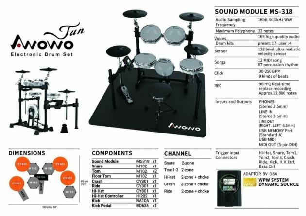 B17 Awowo電子鼓 JUN-2 電子鼓 台灣製造 1